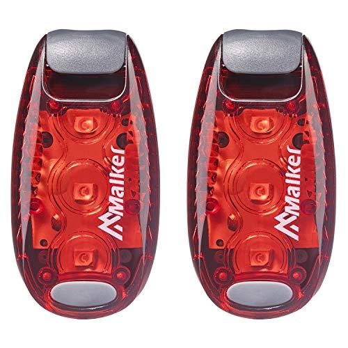 Malker LED Blinklicht Sicherheitslicht Set Sicherheit Licht für Kinder Schulranzen Nachtläufer Bergsteiger Hunde Leuchtanhänger mit Batterien Clip Dauerlicht und Blinklicht 2er(Rot)