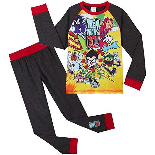 Teen Titans Go! Pigiama A Maniche Lunghe per Ragazzi con Beast Boy Cyborg Starfire Robin Raven, Pigiami Due Pezzi, Pigiama Set, Regalo per Bambini 4-10 Anni (5/6 Anni)
