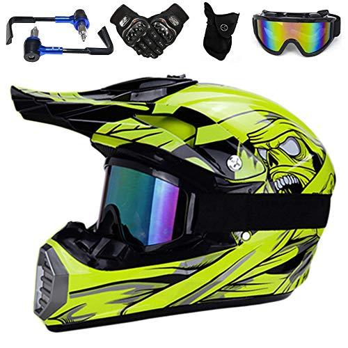 YASE 5-in-1 kit Motorradhelm Motocross Helm Motorrad-Handschutz Brille Handschuhe Maske Enduro Offroad Downhill Helm für Moped/ATV/Mountain Bike (Gelb,S 52-53CM)