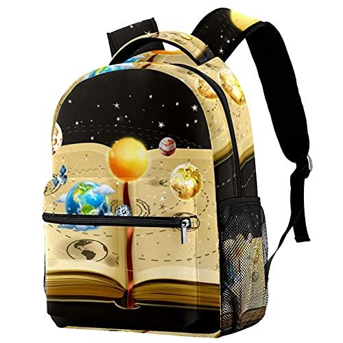 Leisure Campus - Mochilas de viaje para libros de astronomía con soporte para botellas para niñas y niños