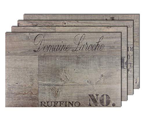 6er Premium Tischsets Holzoptik Weinkiste Grau-Braun | abwaschbar | PVC-CV | je ca. 43,5x28,5cm | je ca. 2,4mm | je ca. 180g | Gastro-Qualität | bazaaro