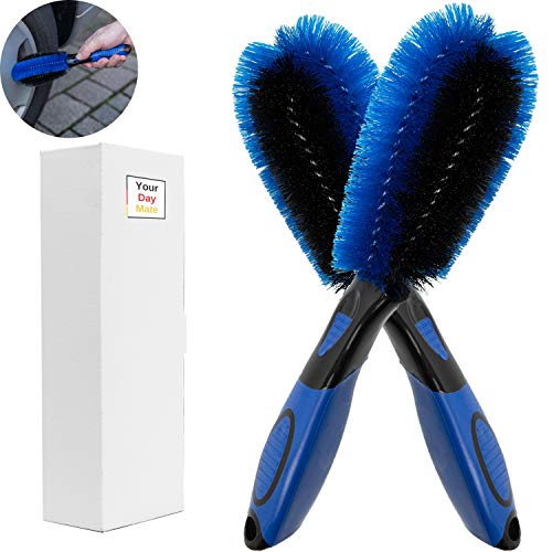 Your Day Mate Cepillos Premium para llanta de Aluminio, Paquete de 2, cerda Resistente a la presión para Limpieza Suave y eficaz de Llantas Pozo de la llanta, Cepillo de Limpieza para Coche