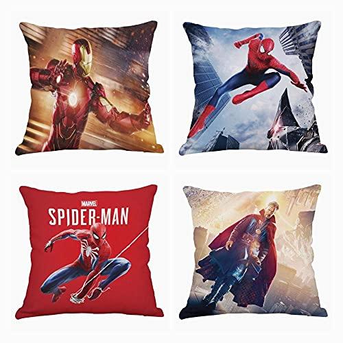 Housses De Coussin Iron Man, Spiderman,Ensemble De 4 Housses De Coussin Carrées Décoratives,Double Impression,Canapé De Bureau Avec Fermeture À Glissière Invisible,Décor En Microfibre,45X45Cm