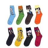 LJ calze sportive unisex, idea regalo, con dipinti retrò, calze da uomo con pittura ad olio (confezione da 8paia), Multicolour 78151
