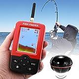 Équipement de pêche Détecteur de Poissons sans Fil Capteur de Sonar 125KHz 0.6-36m de Profondeur Localisateur de Poissons avec antenne écran LCD de 2,4 Pouces, capteur de température de l'eau intégré