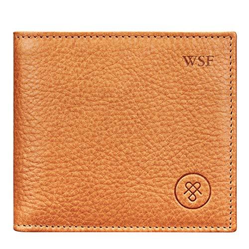 Maxwell-Scott Personalisierte Weiche Herren Leder Geldbörse mit Münzfach Ticciano in Camel