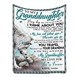 Personalized Custom Name Message Blanket to My Granddaughter from Grandma, My Love Will Follow You Whenever You Go, Ultra-Soft Micro Fleece Winter Warm Throw Blanket for Bed Couch 30 x 40 Inches