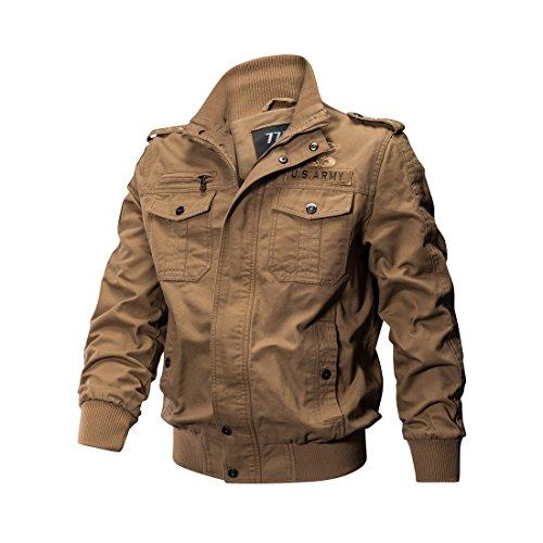 Minishion Men's Pocket Zip Fashion 100% Cotton Outdoor Lightweight Jackets Large Khaki