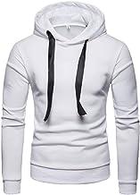 Elogoog Hooded for Mens, Casual Slim Fit Long Sleeve Sweatshirt Hoodie Solid Color Men Tracksuits