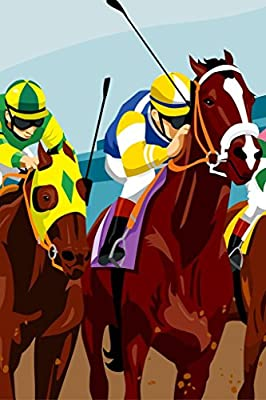 Jockeys Racing Horses Art Print Framed Poster 12x18 by ProFrames