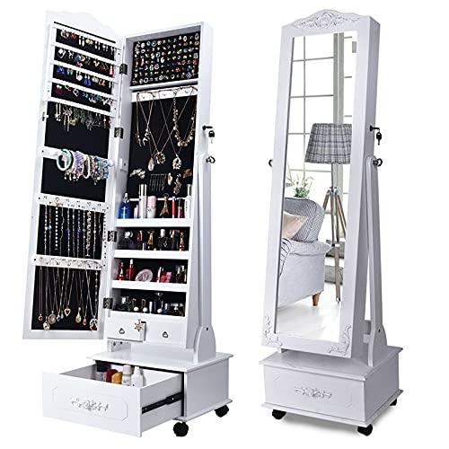 GPAIHOMRY Organizador de joyas con cerradura, alto y grande, armario de joyería independiente, 360° giratorio con espejo de longitud completa y 6 luces LED