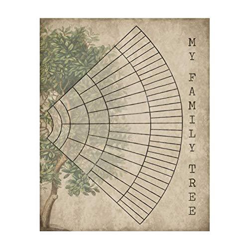 CLFYOU 5 Generationen Stammbaum-Diagramm Familie Baumdiagramm Vintage-Wand-Kunst-Leinwand Vorfahren Genealogie Bild Hauptwand-Kunst-Dekor