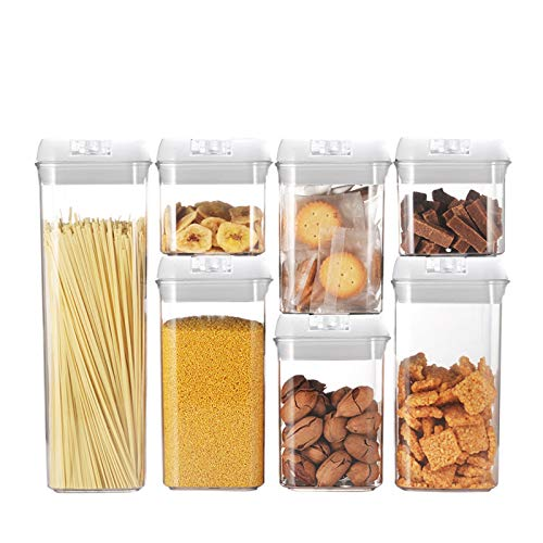Airtight Food Storage Container with Lids,Keeping Food Dry & Fresh,BPA Free Clear Containers,for Cereal, Spaghetti,Candy, Snacks Etc,Transparent buckle