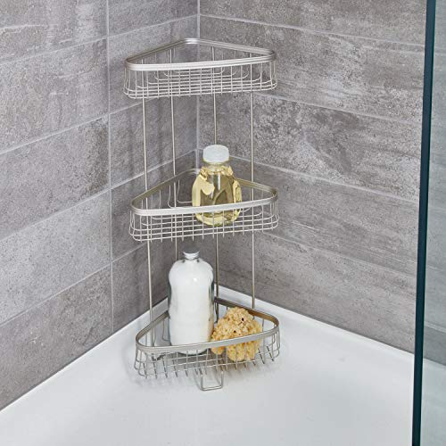 iDesign York Metal Wire Standing Shower Caddy 3-Tier Bath Shelf Baskets for Towels, Soap, Shampoo, Lotion, Accessories, Satin