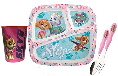 Zak! Designs Paw Patrol Girls Pink 4pc All Inclusive Mealtime Set Featuring Skye! Includes Sectioned Plate, Fork, Spoon & Tumbler Cup!