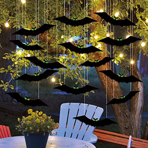 16PCS Halloween Outdoor Lawn Decorations Scary Bats with Glowing Eyes Hanging Yard Tree Sign