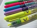 Pilot V-Light SW-VLL - Juego de 6 subrayadores fluorescentes, punta fina biselada (2x amarillo y 1x rosa, azul, morado y verde)