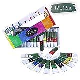 Artina Crylic - Set de pinturas acrílicas para artistas - 12 tubos de 12 ml - Para profesionales como principiantes