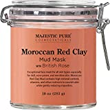 MAJESTIC PURE Moroccan Red Clay Facial Mud Mask with British Rose - Natural Skin Care Mask for Pore...