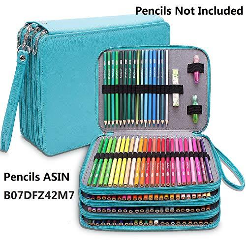 Estuche grande de piel sintética con 184 ranuras para lápices de colores, organizador de lápices impermeable, estuche de 4 capas para lápices verde