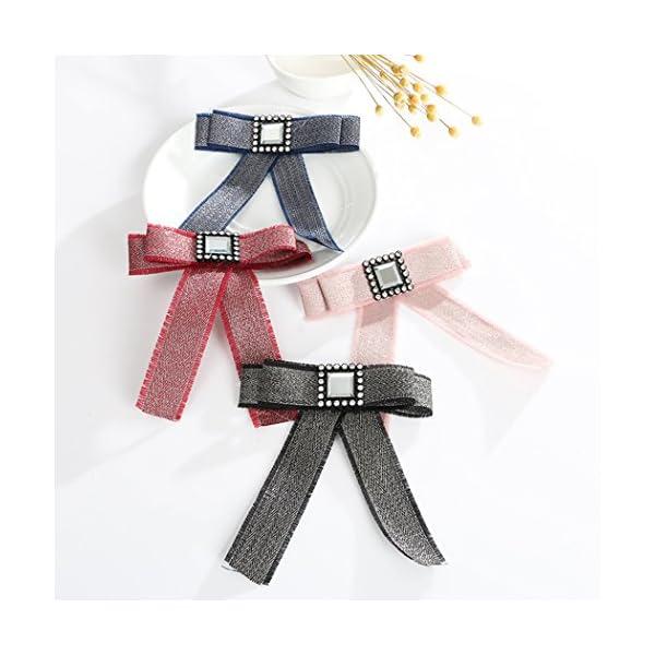 Fascigirl Ribbon Bow Tie, Brooch Tie Fashion Square Crystal Necktie for Women
