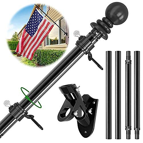 Flag Pole Kit, 6 FT Flag Pole for House, Outdoor Metal Aluminum Flagpole, Wall Mounted Tangle Free American Flag Poles with Holder Mounting Bracket for Outside, Porch, Truck (Black)
