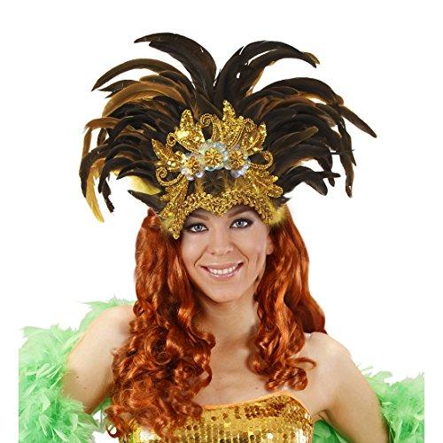 Amakando Federkopfschmuck Rio Samba-Kopfschmuck Gold, gelb, braun brasilienisches Kostüm Accesoire Sambatänzerin Zubehör Showgirl Outfit Karneval in Rio