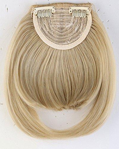 Extension de cheveux naturels avant pleine frange frange 2 clips une pièce épaisse postiche droite pour les femmes Blond de cendre mix blond de blanchiment