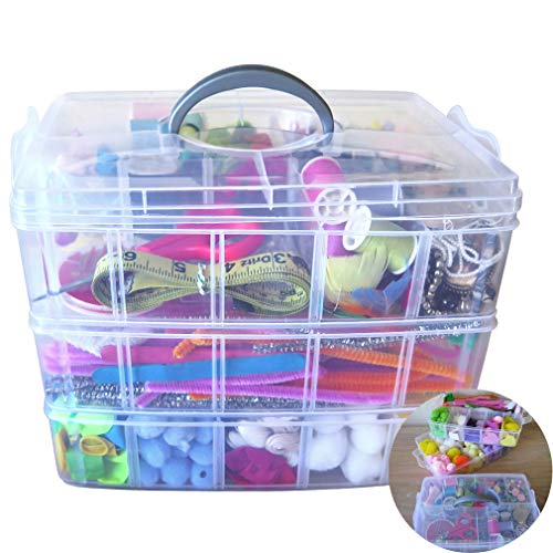 Evelots Storage Box-Clear-Stackable-Snap-30 Section-Craft/Jewelry/Hardware-Set/3