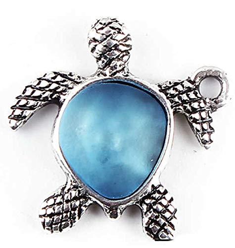 Sadingo Colgante de tortuga plateado y azul, 5 unidades, 20 mm, colgante de metal, colgante decorativo para regalo, manualidades de tortugas