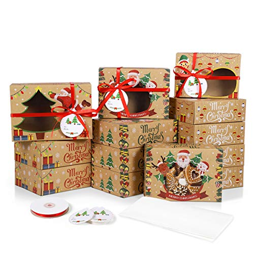 24Pcs Christmas Cookie Boxes, 3 Sizes Kraft Paper Christmas Food Bakery Treat Boxes With Window, Baking Parchment Paper and Ribbons for Candy Cookie Doughnut Xmas Holiday Gift-Giving