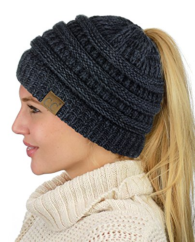 C.C BeanieTail Soft Stretch Cable Knit Messy High Bun Ponytail Beanie Hat, Black/Gray Mix
