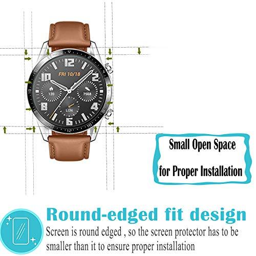 Hotbon Panzerglas Schutzfolie kompatibel mit Huawei Watch GT 2 46mm, [3 Stück] Huawei Watch GT 2 46mm Nicht Panzerglas Folie Schutzfolie [Vollständige Abdeckung] [Blasenfreie] HD klar Flexible Folie - 5