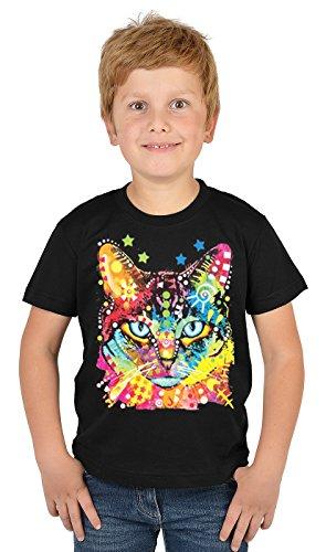 Motiv-Jungen-Shirt/Kinder-Shirt mit Katzen-Druck: Blue Eyes - tolles Geschenk- Cooler Look/kräftige Farben