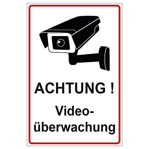 Schild Achtung Videoüberwachung aus Alu / Dibond 200x300 mm - 3 mm stark
