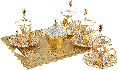 Turkish Tea Glasses Set with Decorated Metal Glass Holders, Saucers, Sugar Bowl with Lid & Serving Tray for 4 Ppl, 3.3 Oz (Crystal)