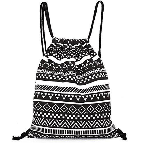 DANUC Gym Sack Bag Drawstring Backpack Sport Bag for Men & Women School Travel Backpack (Black)
