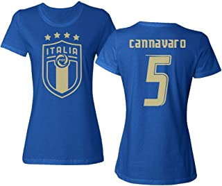Tcamp Soccer Legends #5 Fabio CANNAVARO Jersey Style Ladies Crewneck T-Shirt