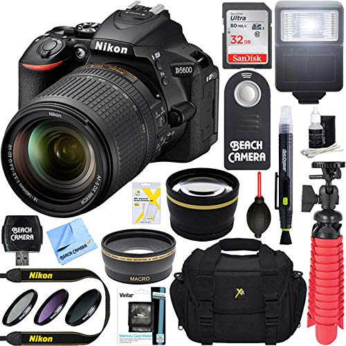 Nikon D5600 24.2 MP DX-Format DSLR Camera with AF-S 18-140mm f/3.5-5.6G ED VR Lens Kit Bundle with 32GB Memory Card, Bag, Flash and Accessories (11 Items)