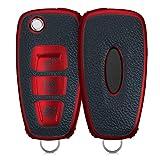 kwmobile Autoschlüssel Hülle kompatibel mit Ford 3-Tasten Klapp Autoschlüssel - Schlüsselhülle Cover Rot Schwarz