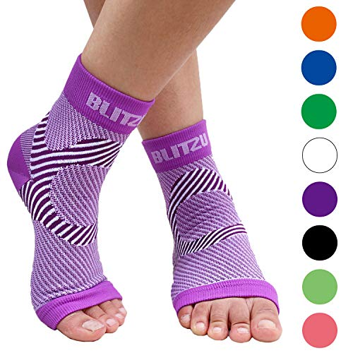 BLITZU Plantar Fasciitis Compression Socks For Women & Men - Best Ankle and Nano Sleeve For Everyday Use - Provides Foot & Arch Support. Heel Pain, and Achilles Tendonitis Relief. PURPLE S/M