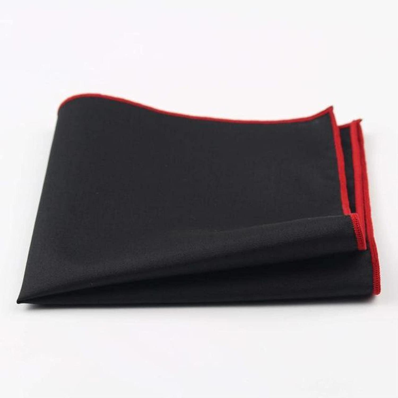 HJJACS Men's Cotton Handkerchief Black Pocket Square Colorful Edge Hankies Towel Casual