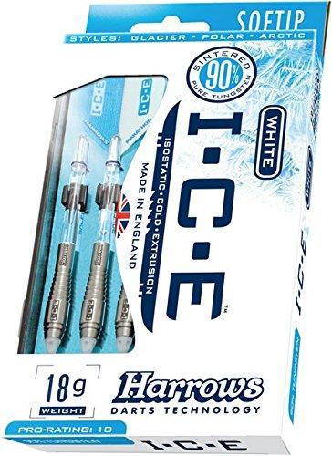 18g Soft Tip Set de fléchettes HARROWS Ice Snow Tungsten
