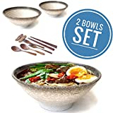 Vallenwood 2 Noodle Bowl Sets (10 piece) Ceramic Extra Large Ramen Bowls Set. Asian Chinese Japanese or Pho Soup 55oz. With Spoons, Chopsticks, Stand and Forks Dinnerware. Thai Miso Udon wonton soup.