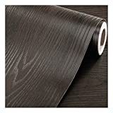 F&U Faux Wood Grain Wall Paper Self Adhesive Vinyl Shelf Liner Covering for Kitchen Countertop Cabinets Drawer Furniture Wall Decal (23.4' Wx117 L,Black-Brown Sandalwood)