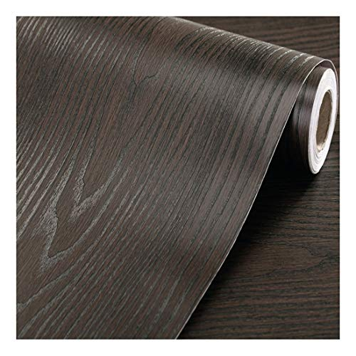 """F&U Faux Wood Grain Wall Paper Self Adhesive Vinyl Shelf Liner Covering for Kitchen Countertop Cabinets Drawer Furniture Wall Decal (23.4"""" Wx117 L,Black-Brown Sandalwood)"""