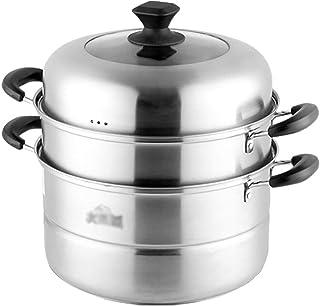 Vaporizador de Acero Inoxidable/Olla de Sopa Hogar de 3 Capas con vaporizador 26cm / 28cm / 30cm Espesado Adecuado para Cocina de Gas/Cocina de inducción Adecuado para 3-6 Personas