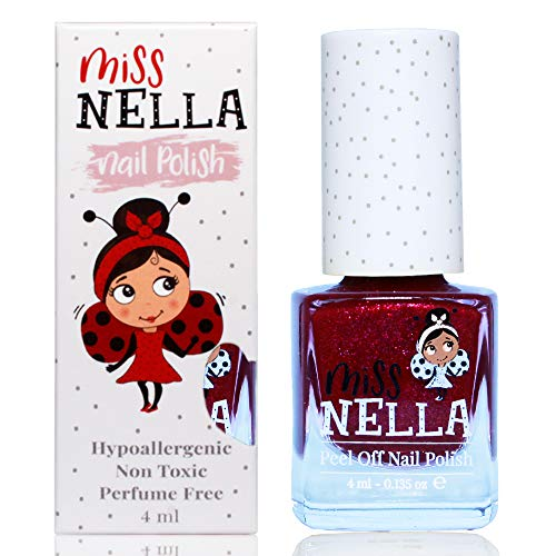 Miss Nella JAZZBERRY JAM- prune Vernis à ongles spécial avec des paillettes pour enfants, formule Peel-off, à base d'eau et sans odeur