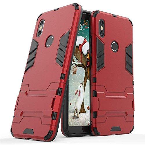 Funda para Xiaomi Redmi S2 / Redmi Y2 (5,99 Pulgadas) 2 en 1 Híbrida Rugged Armor Case Choque Absorción Protección Dual Layer Bumper Carcasa con Pata de Cabra (Rojo)