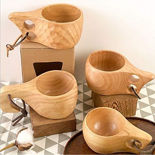 Mipan Nordischer Stil Kuksa Rucksack Holzbecher Tasse, Gummi Holz Wasser Tasse, Frühstück Tasse für Camping Wandern Survival Teacup